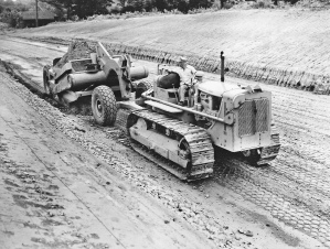 Caterpillar D-7 tractor and No. 70 scraper. US Bureau of Public Roads photo