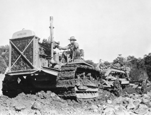 Caterpillar Sixty tractor pulling a grader, Edgar Browning Image