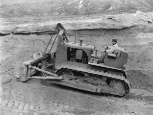 International Harvester cable blade on a TD-14 Series 141 tractor in 1956, Pit & Quarry