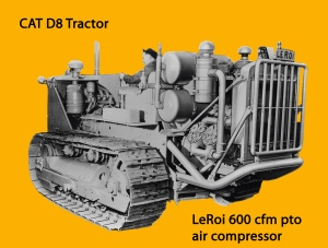 LeRoi 600 cubic feet per minute air compressor on Caterpillar D-8 tracrtor, Edgar Browning Image