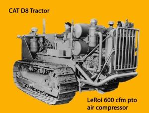 LeRoi 600 cubic feet per minute air compressor on Caterpillar D-8 tracrtor, Edgar Browning Image