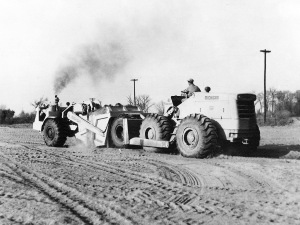 Michigan Model 180 Turbo-Dozer pushing Michigan scraper in Wyoming Interstate Project