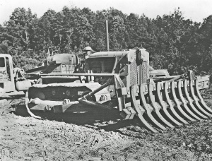 Root rake on a Caterpillar D-7 dozer, Edgar Browning Image