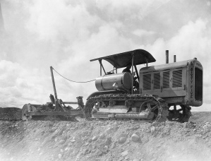 Rotary (Tumble Bug) pull-scraper and Caterpillar Sixty-Five tractor, Edgar Browning Image